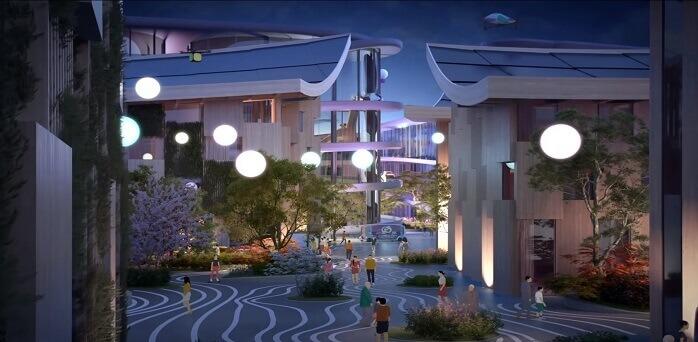 夜のWoven Cityは優しい明るさ