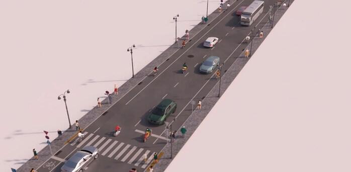 20世紀は自動車や人々が歩く道路は一緒